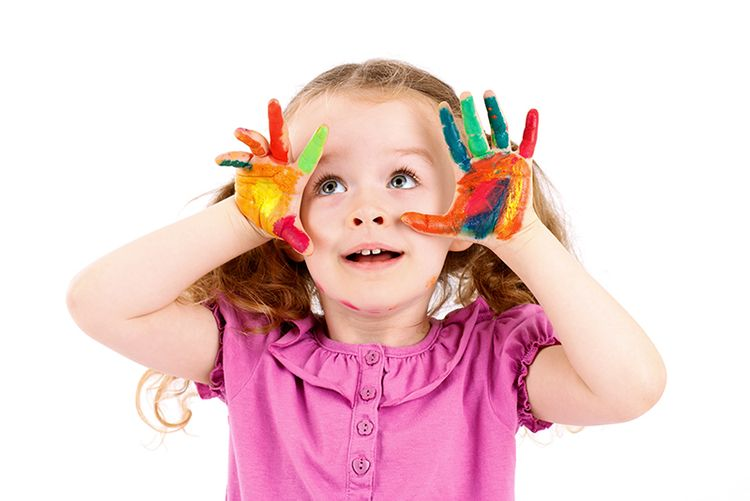 Toddler Girl with Paint on Hands